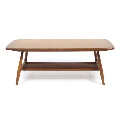 37 - Ercol elm Windsor coffee table, 36cm H x 104cm W x 46cm D...
