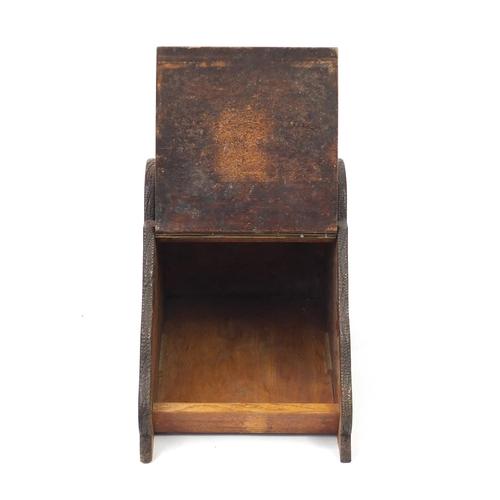 36 - Victorian carved oak coal scuttle, 44cm H x 34cm W x 50cm D...