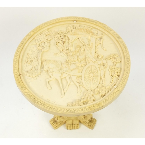 46 - Chinese resin occasional table with elephant and figure column, 49cm high x 46cm in diameter...