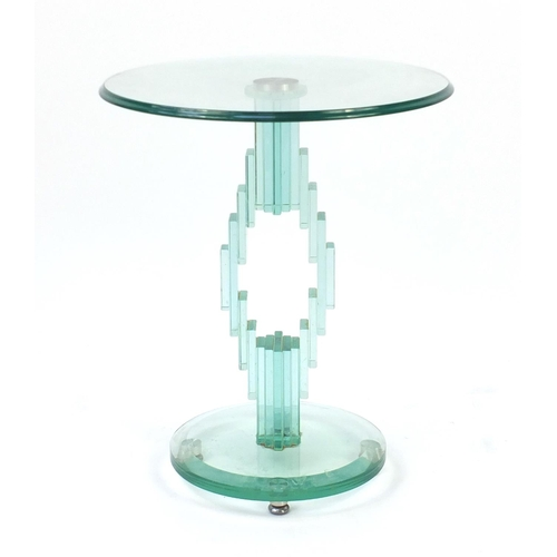 19 - Contemporary glass occasional table, probably Italian, 55cm high x 45.5cm in diameter...