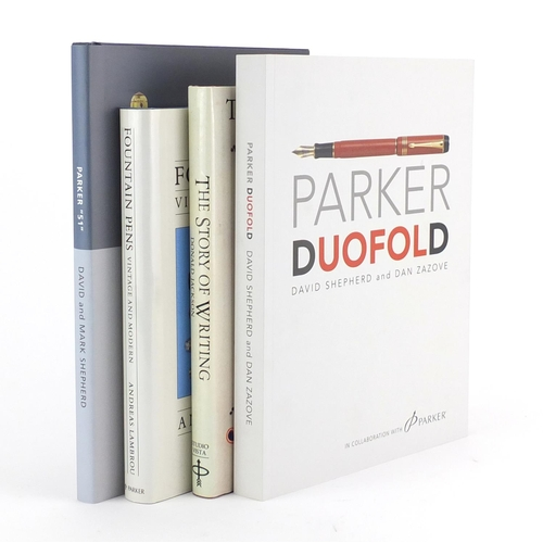 8 - Four pen reference books including Parker Duofold by David Shepherd and Dan Zazove and Parker 51 by ...
