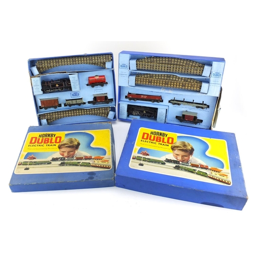171 - Two Hornby Dublo electric train sets with boxes comprising models EDG17 and EDG18...