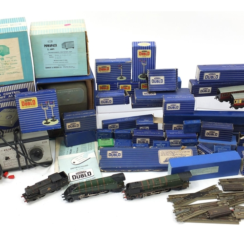 170 - Hornby Dublo model railway, track and accessories most with boxes including Duchess of Montrose loco...