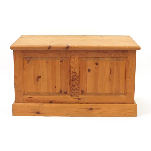11 - Pine blanket box with fielded panels, 53cm H x 90cm W x 47cm D...