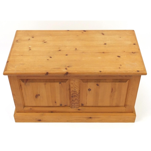 11 - Pine blanket box with fielded panels, 53cm H x 90cm W x 47cm D