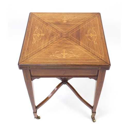 2030 - Victorian inlaid rosewood envelope card table, with baize lined interior, 75cm H x 56cm W x 56cm D...