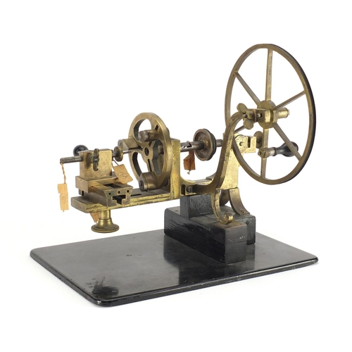 19 - Antique watchmakers lathe with ebonised handles, 37cm wide...