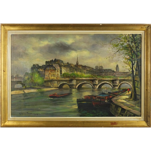 29 - Manner of Emile Boyer - Paris river scene, oil on board, mounted and framed, 69cm x 44cm...