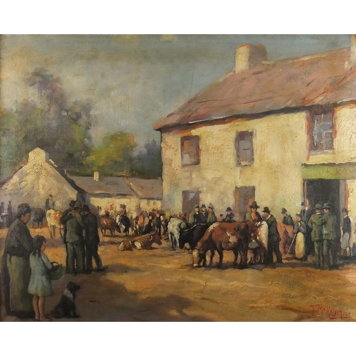 31 - Manner of Frank McKelvey - Figures at a cattle market, Irish school oil on board, framed, 52cm x 43c...