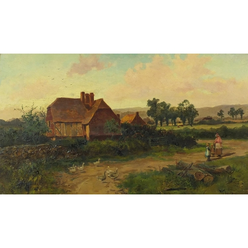 26 - Will Anderson - Mother and children with geese before cottages, 19th century oil on canvas, inscribe...