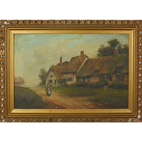27 - J W Humby - Figures before cottages, pair of Edwardian oil on canvases, each 60cm x 40cm...