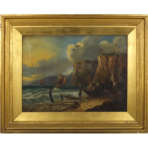 28 - Attributed to James Webb - Off shore in a stiff breeze, 19th century oil on canvas, framed, 55cm x 3...