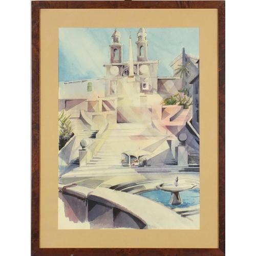 33 - Piazza Di Spagna, watercolour, inscribed Luigi Pavolini verso, mounted and framed, 49cm x 34cm...