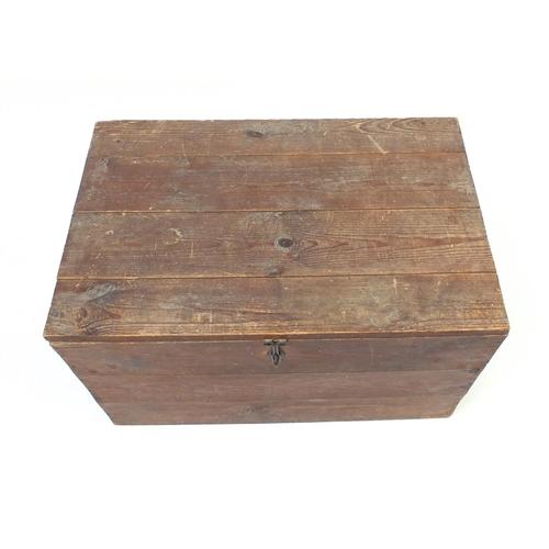 24 - Vintage pine trunk with carry handles, 46cm H x 76cm W x 49cm D...