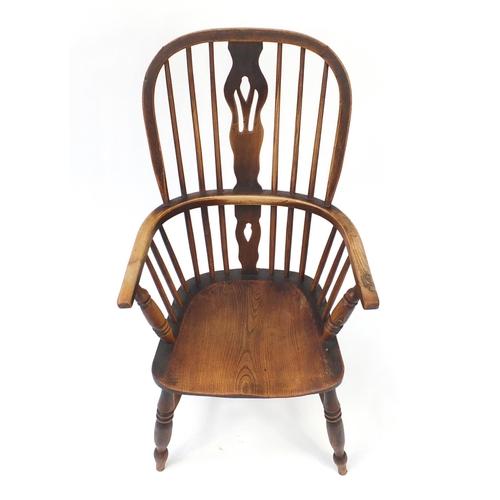 25 - *Description amended 02-08-19* Beech and elm stick back Windsor chair, 100cm high...