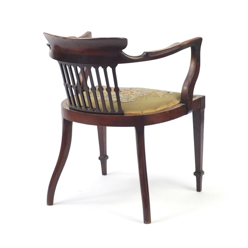 7 - Victorian inlaid rosewood tub chair with needlepoint seat, 75cm high...