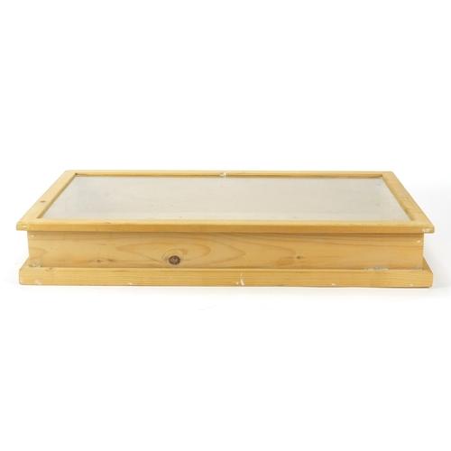 55 - Pine jeweller display case with hinged lid, 10cm H x 63cm W x 37cm D...