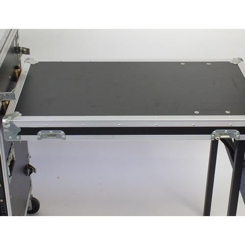 15 - Large Rhino flight case with twin table, 111.5cm high...