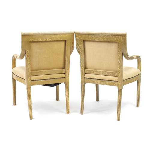 10 - Pair of French style Shabby Chic open armchairs with beige upholstery, 91cm high...