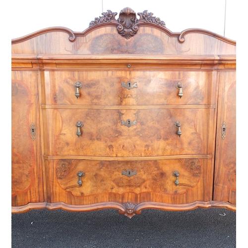 22 - Good German walnut sideboard, on claw an ball feet, 139cm H x 242cm W x 72cm D...