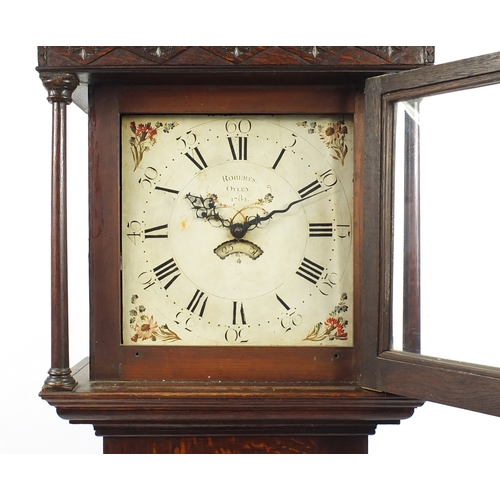 6 - 18th century oak long case clock, the dial marked inscribed Roberts Otley 1782, 208cm high...
