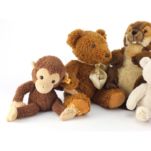 2103 - Five Steiff bears and animals including My First Steiff, the largest 40cm long...