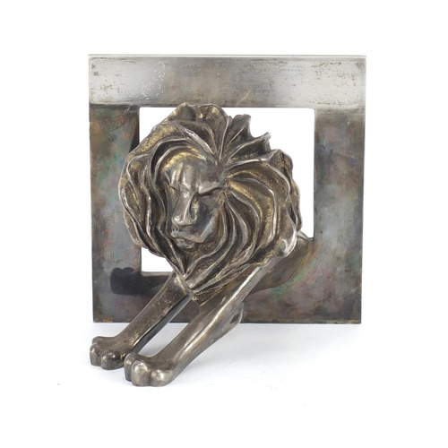 38 - Silver plated bronze Cannes lion award by Arthus Bertrand of Paris, reputedly given as an award at t...