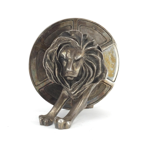39 - Silver plated bronze Cannes lion award probably by Arthus Bertrand of Paris, reputedly given as an a...