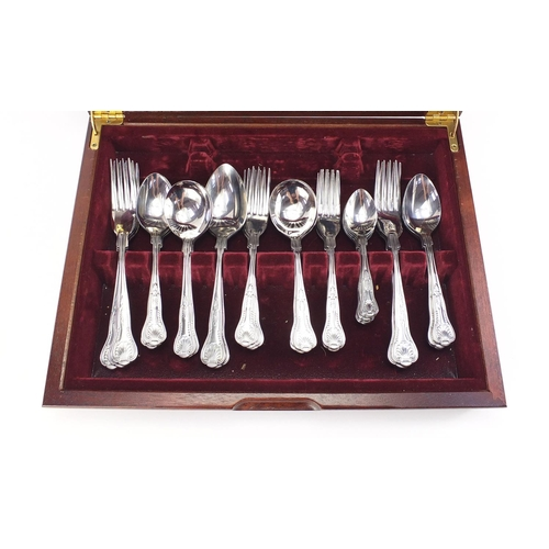 2292 - Six place mahogany canteen of stainless steel cutlery, 39cm wide...