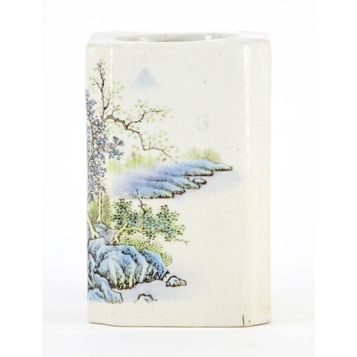 378 - Chinese porcelain square brush pot with canted corners, decorated with a river landscape, calligraph...