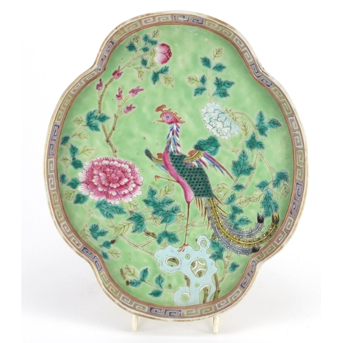 377 - Chinese Peranakan Type porcelain tray, hand painted with a phoenix amongst flowers, 26cm x 21.5cm...