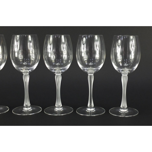 671 - Five Lalique Royal range crystal wine glasses with frosted stems, etched Lalique, 20cm high...