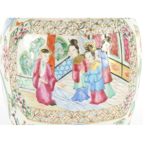 376 - Chinese porcelain Canton vase and cover, finely hand painted in the famille rose palette with panels...
