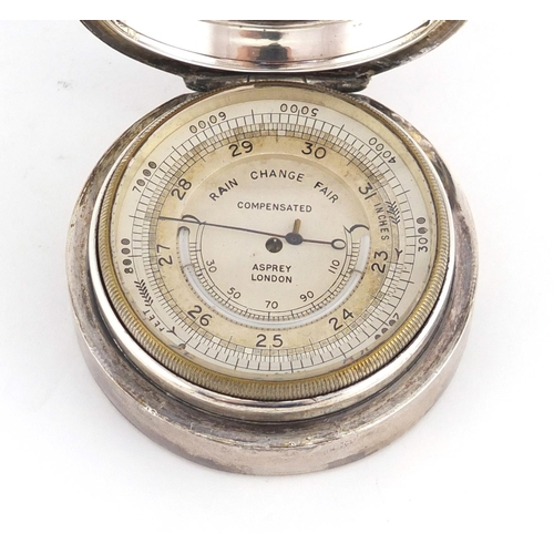 12 - Silver cased compensated barometer retailed by Asprey of London, London 1921, indistinct makers mark...