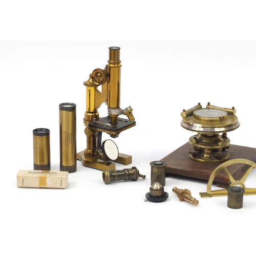 17 - 19th century and later scientific instruments with travel cases including a part Theodolite by Troug...