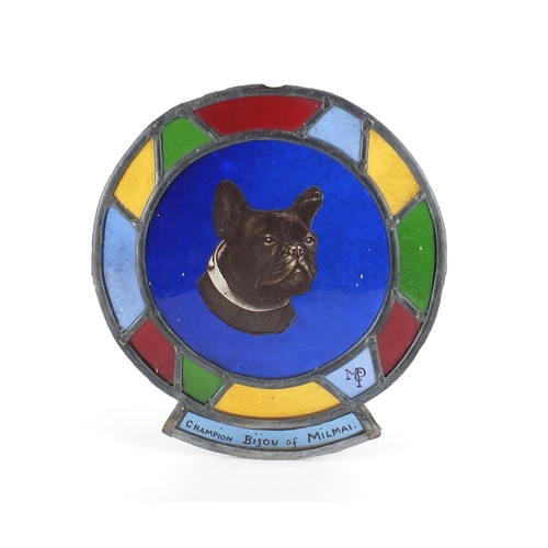 37 - Early 20th century Leaded stain glass panel hand painted with a bulldog, inscribed Champion Bijou Of...