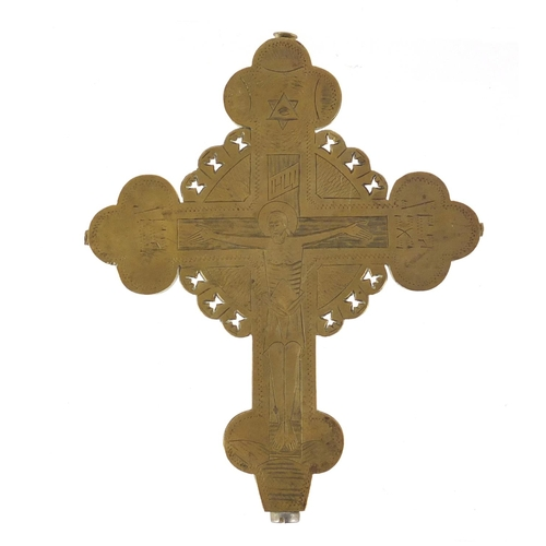43 - Antique Imperial Russian Orthodox crucifix alter cross, finely engraved with a Corpus Christi, 14cm ...