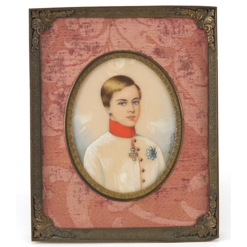 47 - Imperial Russian hand painted portrait miniature on ivory, depicting young Franz Joseph Emperor of A...