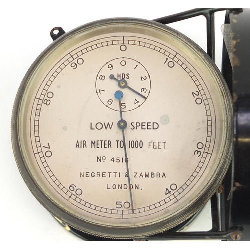16 - Negretti and Zambra air meter with fitted case, numbered 4516...