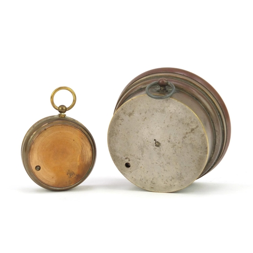 14 - Brass pocket barometer and a desk barometer by L Fischer of Paris, the largest 8cm in diameter...