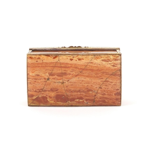 58 - Antique hardstone casket with gold coloured metal mounts, 8.5cm wide...