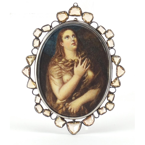 48 - Antique oval hand painted portrait miniature of a scantily nude female, housed in an unmarked silver...