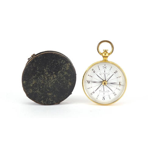 15 - 19th century gilt brass pocket compass by J White of Glasgow, housed in a velvet lined leather case,...
