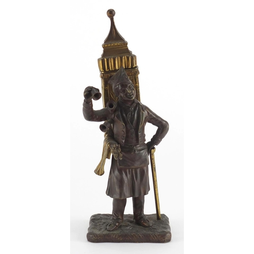 26 - 19th century partially gilt patinated bronze pedlar vesta, 19cm high...