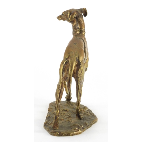 30 - 19th century French bronze desk paper clip in the form of a greyhound by Maison Alphonse Giroux, wit...