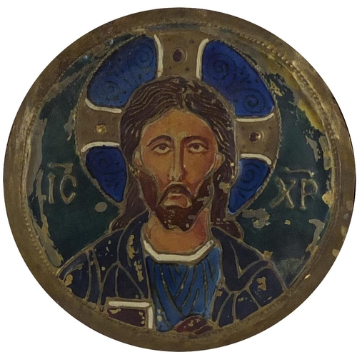 45 - Russian Pan Slavic style Art Nouveau enamel icon on copper, depicting Christmas Pantocrator in the B...