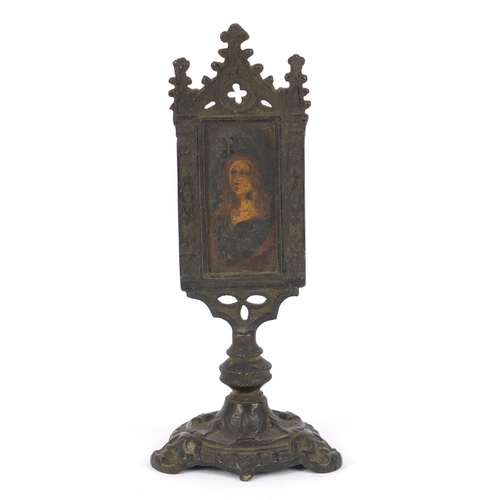46 - Russian bronzed table icon hand painted with Madonna, 18cm high...