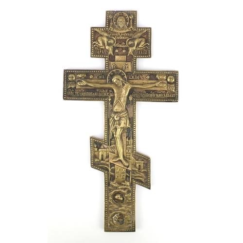 44 - Russian bronze Orthodox crucifix alter cross, 37.5cm high...