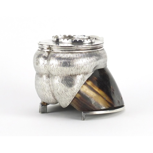 31 - Horse hoof inkwell with silver plated mounts by Elkington & Co, 12.5cm high...