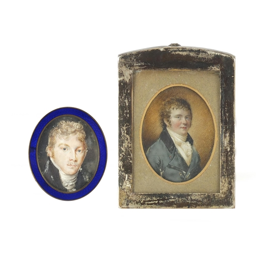 49 - Two antique oval hand painted portrait miniatures of gentlemen in formal dress, one housed in a rect...
